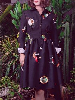 Black V Neck Long Sleeve A-line Mini Dress