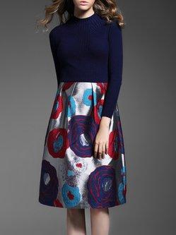 Blue Paneled Long Sleeve Midi Dress