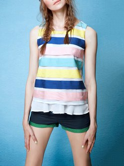 Multicolor Short Sleeve Paneled Polyester H-line Tank