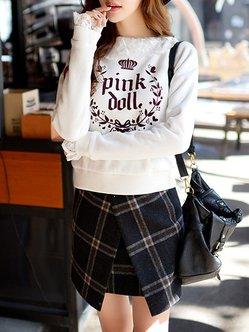 Gray Sweet H-line Checkered/Plaid Mini Skirt