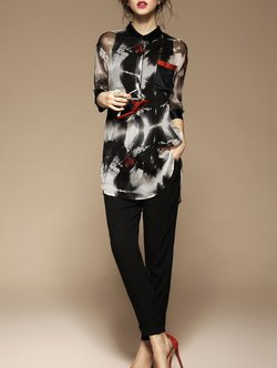 Black 3/4 Sleeve Shift Silk V Neck Blouse