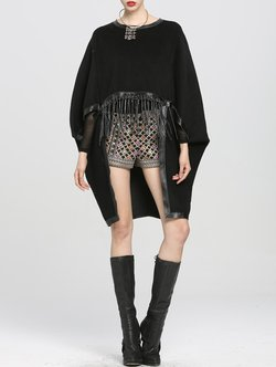 Black Denim Batwing Paneled Poncho