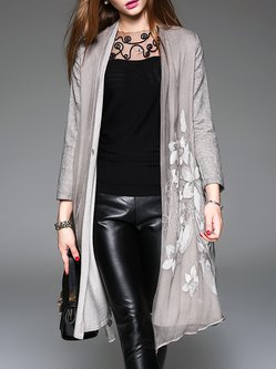 Long Sleeve Linen A-line Vintage Embroidered Open Collar Coat