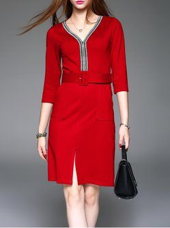 Red Polyester 3/4 Sleeve Slit Sheath Pockets Midi Dress