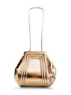 Golden Small Calfskin Leather Shoulder Bag