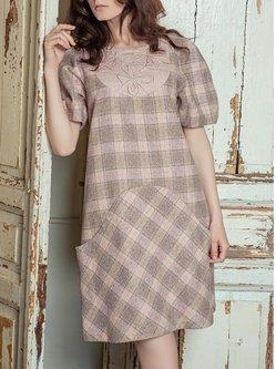 Short Sleeve Floral-print Sheath Vintage Mini Dress