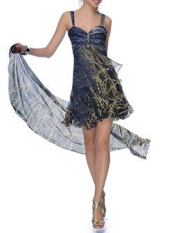 Beige Evening Sweetheart Silk A-line Mini Dress