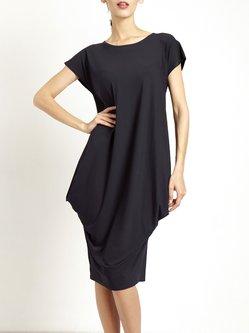 Cotton-blend Short Sleeve Statement Plain Crew Neck Midi Dress
