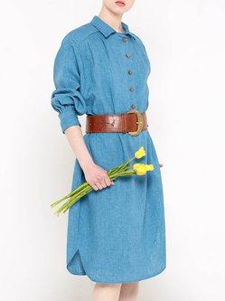 Blue Plain H-line Casual Shirt Collar Shirt Dress