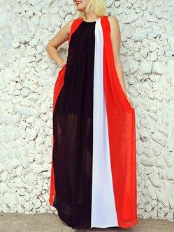 Multicolor Stripes Sleeveless Swing Maxi Dress