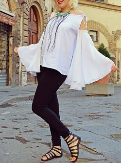 Plain Long Sleeve Statement Chiffon T-Shirt
