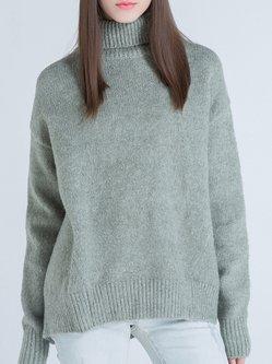 Green Casual Wool Blend Sweater