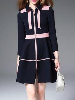 Color-block Shirt Collar Long Sleeve Midi Dress