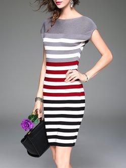 Casual Sheath Short Sleeve Crew Neck Printed Stripes Midi Dress