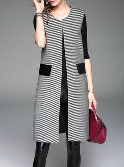 Gray A-line Sleeveless Stripes Vest