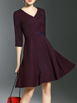 Wine Red V Neck Geometric Printed A-line 3/4 Sleeve Midi Dress