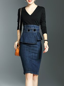 3/4 Sleeve V Neck Paneled Casual Sheath Midi Dress