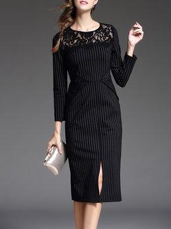 Black Sheath Elegant Stripes Cotton-blend Midi Dress