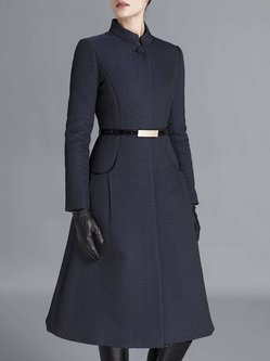 Navy Blue Long Sleeve Embossed Buttoned A-line Coat