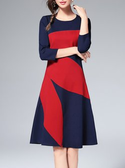 Navy Blue 3/4 Sleeve Color-block Midi Dress