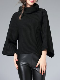 Batwing Knitted Casual Turtleneck Sweater