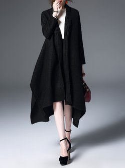 Black Asymmetrical Lapel Capes Long Sleeve Coat
