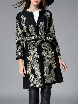 Black Long Sleeve Embroidered A-line Coat