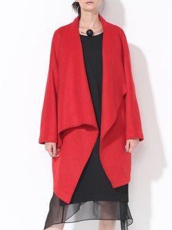 Plain Shift Wool Simple Long Sleeve Coat