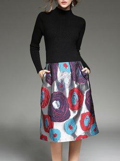 Black Casual Turtleneck Printed Floral Midi Dress