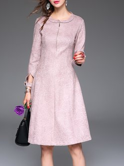 A-line Crew Neck Elegant Long Sleeve Midi Dress