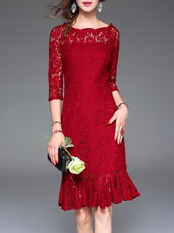 Mermaid 3/4 Sleeve Guipure Lace Elegant Midi Dress