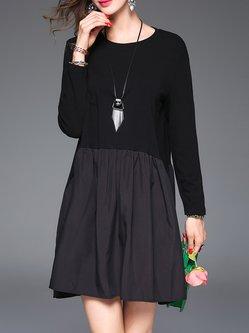 Black Casual Plain Paneled Folds Mini Dress