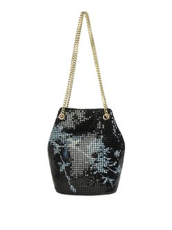 Black Printed Metal Mesh Retro Snap Bucket Crossbody Bag