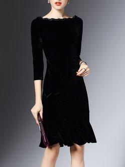 Elegant Solid  Ruffled Midi Velvet Dress