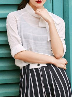 White Turtleneck Bow Casual Blouse