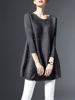 Gray Beaded Plain 3/4 Sleeve Crew Neck Tunic