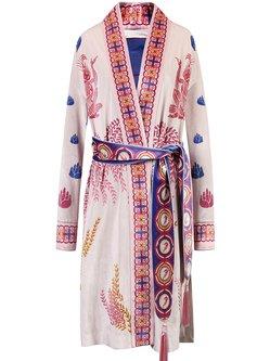 Pink Polyester V Neck Printed Long Sleeve Coat