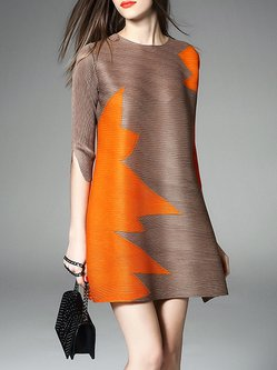 Brown Crew Neck Half Sleeve Tunic