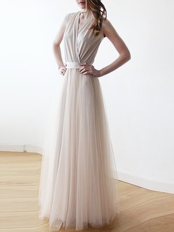 Champagne Plain Sleeveless Swing V Neck Maxi Dress