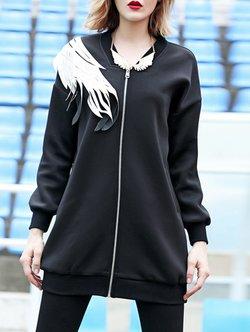 Black Street V Neck Polyester Coat