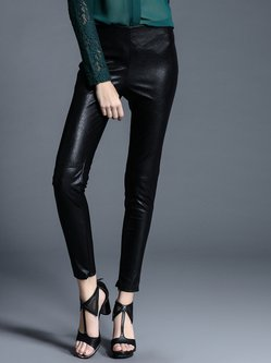 Black Polyester Plain Simple Leather Pants