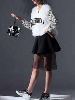 Black Paneled Casual Plain Midi Skirt