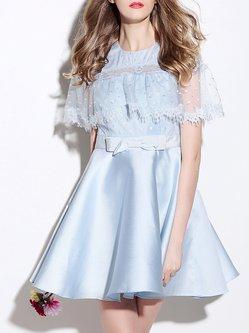 Silk Beaded Short Sleeve Casual Plain Mini Dress