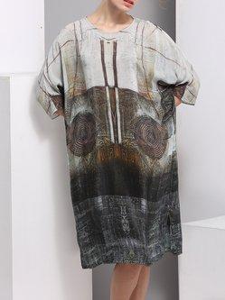 Gray Slit 3/4 Sleeve Crew Neck Shift Midi Dress