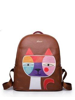 Cowhide Leather Zipper Casual Medium Backpack