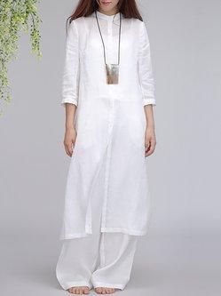 White 3/4 Sleeve Linen H-line Slit Tunic