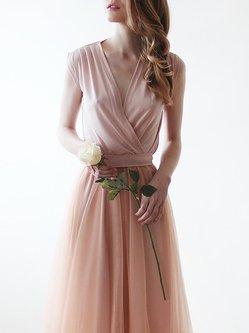 Sleeveless V Neck Evening Maxi Dress