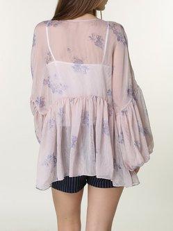 Pink Floral-print Casual V Neck Plain Long Sleeved Top