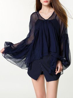 Black Casual Two Piece V Neck Long Sleeved Top