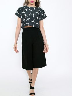 Black Printed Short Sleeve Cropped Top